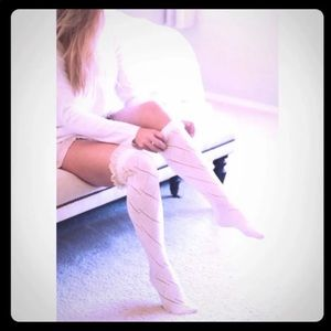 Ivory Over the Knee crochet socks with bow